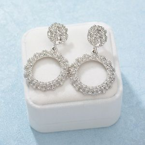 Silver Circle Textured Drop Earrings